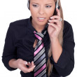 Serious call center agent - Stock Photo