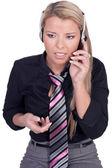 Serious call center agent — Stock Photo