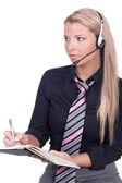 Female call center agent — Stock Photo