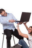 Male and female model behind the scene — Stock Photo