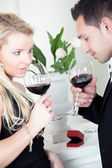 Tender young couple celebrating together — Stock Photo