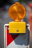 Temporary amber warning light — Stock Photo