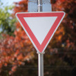 Stock Photo: Road sign to yield to traffic