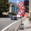 Reduced speed limit for roadworks sign — Stock Photo