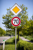 Speed limit road sign — Stock Photo