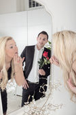 Romantic man watching a beautiful woman — Stock Photo