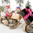 Santa Claus motorcycle trip — Stock Photo
