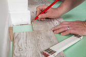 Wood measuring and marking — Stock Photo