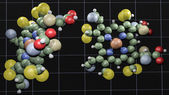 Colored atom structure screen — Stock Photo