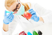 Scientist Injecting Chemical In Apple At Table — Foto Stock