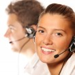 Young beautiful woman in a call center — Stock Photo #4017163