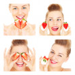 Collage of four women and strawberries — Stock Photo