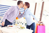 Couple meeting in a restaurant — Foto Stock