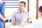 Unhappy customer in a restaurant — Stock Photo