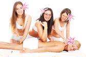 Four girls and massage — Stock Photo