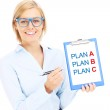 Businesswoman with plan A and plan B — Stock Photo #45979593