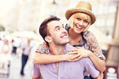 Young happy couple having fun in the Old Town — Stock Photo
