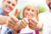Students showing ok sign — Stock Photo