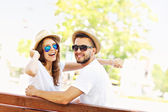 Beautiful couple on a date in the park — Stock Photo