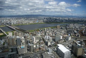 Aerial view of the city, Osaka, Japan — Stock Photo