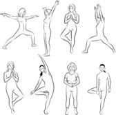 Meditazione e yoga pone — Vettoriale Stock