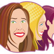 Three women — Stock Vector