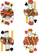 Four kings no cards — Stock Vector