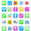 Stock Vector: Ios 7 style mobile app icons isolated on white background