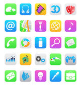 Ios 7 style mobile app icons isolated on white background — Stock Vector