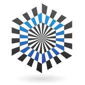 полосатый шестиугольника абстрактный значок — Cтоковый вектор