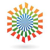Striped Hexagon Abstract Icon — Stockvector