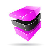 Colorful 3d Cubical Abstract Icon — Stock Vector