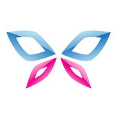 Blue and Pink Butterfly Icon — Stock Vector