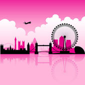 London Magenta Skyline — Stock Vector
