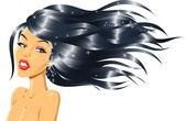 Fashion Girl with Shiny Hair — Stock Vector