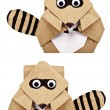 Stock Photo: Raccoon origami recycle paper