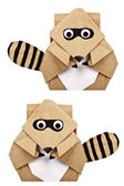 Raccoon origami recycle paper — Stock Photo