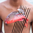 Sea Gypsies and andaman fish — Stock Photo