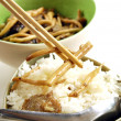 Fried mushroow with Oyster sauce - Stock Photo