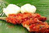 佳人红咖喱烤的鸡 — 图库照片
