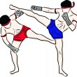 Hand drawn Thai martial arts and muay thai boran — Vektorgrafik