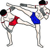 Hand drawn Thai martial arts and muay thai boran — Vettoriale Stock