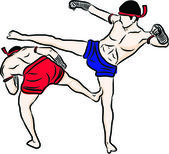 Ručně tažené thajské bojové umění a muay thai boran — Stock vektor