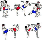 Hand drawn Thai martial arts and muay thai boran — Stockvector