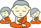 Little monk — Stock Vector