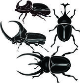 Beetle Silhouettes — Stock Vector