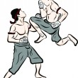 Hand drawn Thai martial arts and muay thai boran — Vettoriali Stock