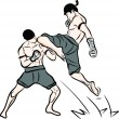 Hand drawn Thai martial arts and muay thai boran — Stockvektor