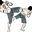 Hand drawn Thai martial arts and muay thai boran — Векторная иллюстрация