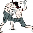 Hand drawn Thai martial arts and muay thai boran — Stockvectorbeeld